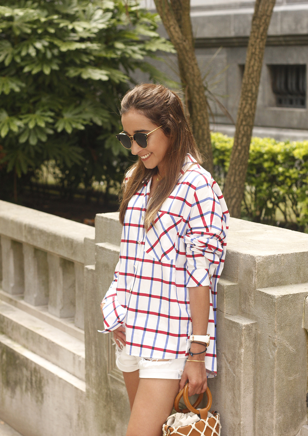 oversize plaid shirt denim shorts white mules street style summer outfit 201813