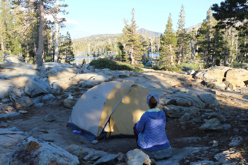 Our tent and campsite on Middle Velma Lake
