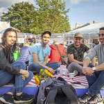 Friends relaxing in the Book Festival village | © Robin Mair