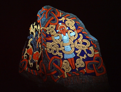 This is a projection of a stone marker at the Jelling Viking Museum in Denmark. Archeologists believe it was originally painted in bright colours
