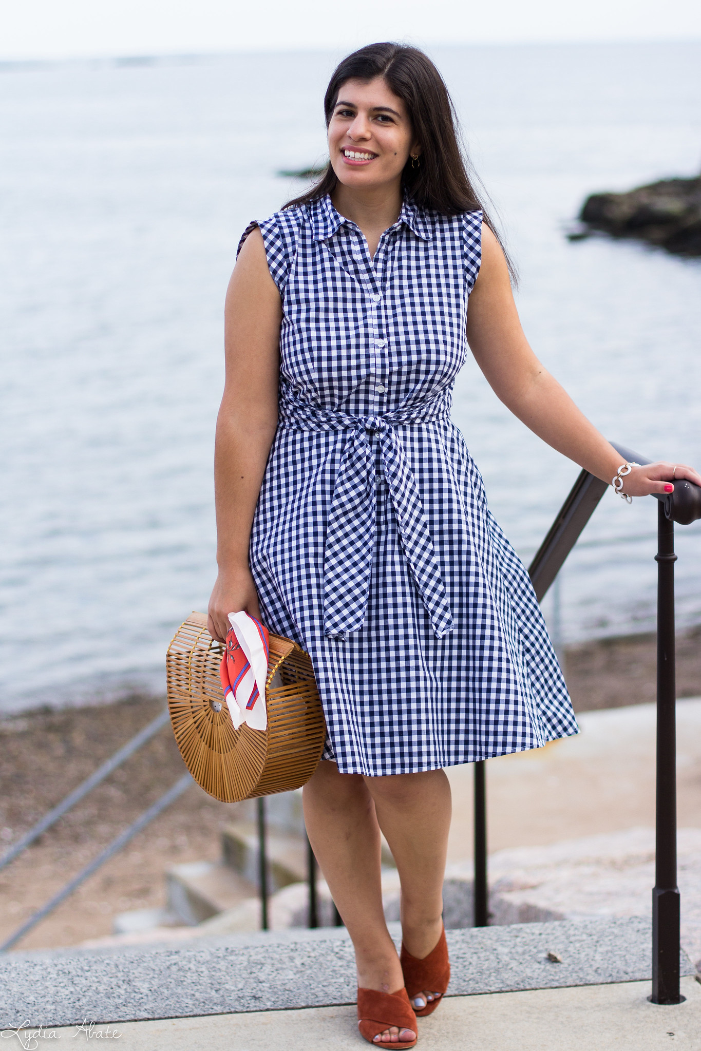 gingham dress, rust mules, bamboo half moon bag-6.jpg