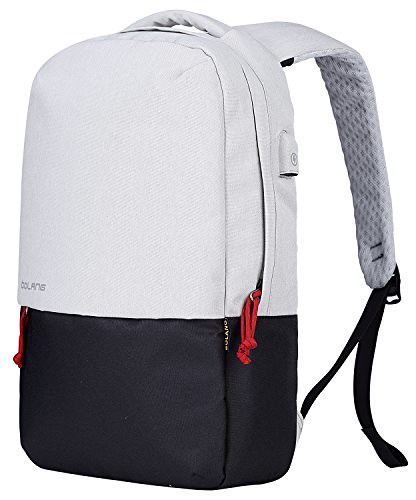 BOLANG Water Resistant Laptop Backpack with USB Charging Port Travel School Daypack 8849 (White/Black) For Sale
