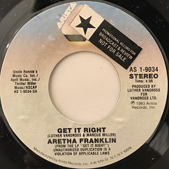 ARETHA FRANKLIN:GET IT RIGHT(LABEL SIDE-A)