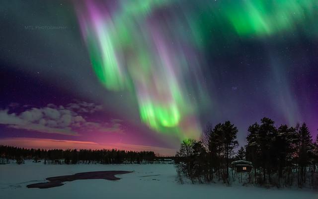 Auroras above River Iijoki