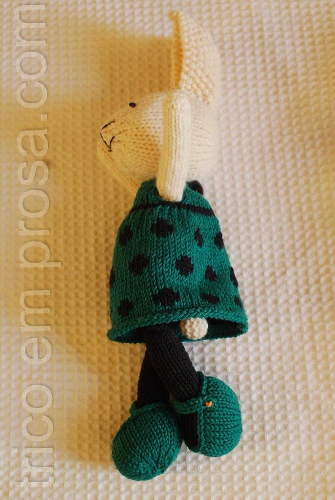 blog Tricô em Prosa - Coelhinha com vestido de bolinha