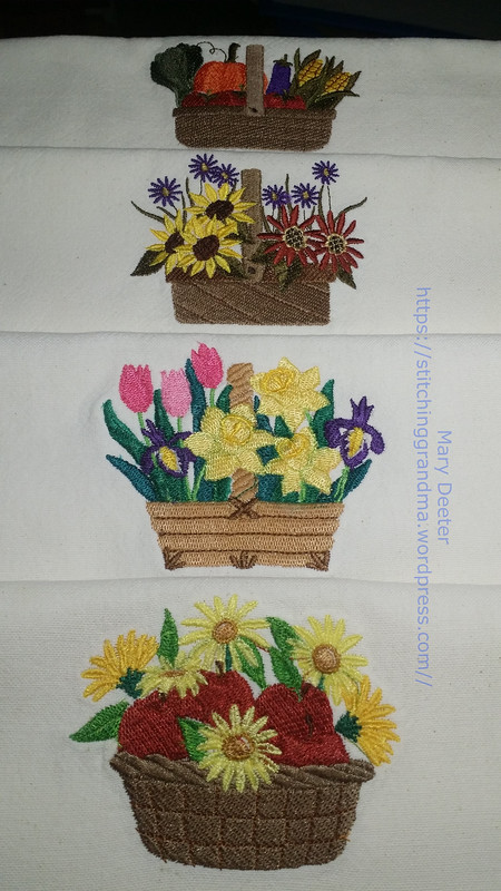 Four basket designs on dishtowels