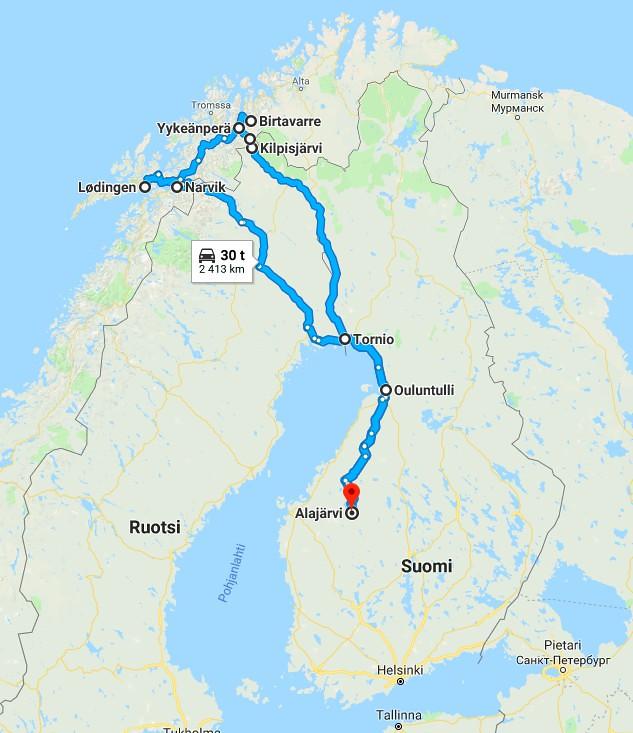 Roadtrip Pohjois-Norjaan aurolla reitti