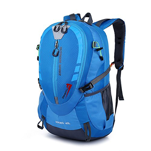 EchoFun Lightweight Backpack Hiking Daypack Durable Backpacks for Men and Women Large Capacity Travel Water Resistant Backpack 40L (blue)