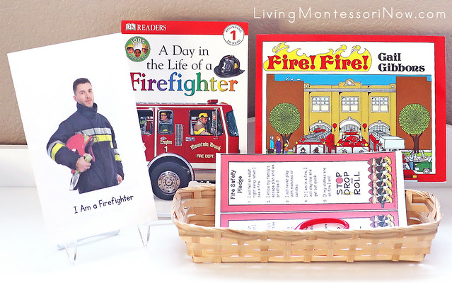 Shelf with Fire Safety Books and Bookmarks