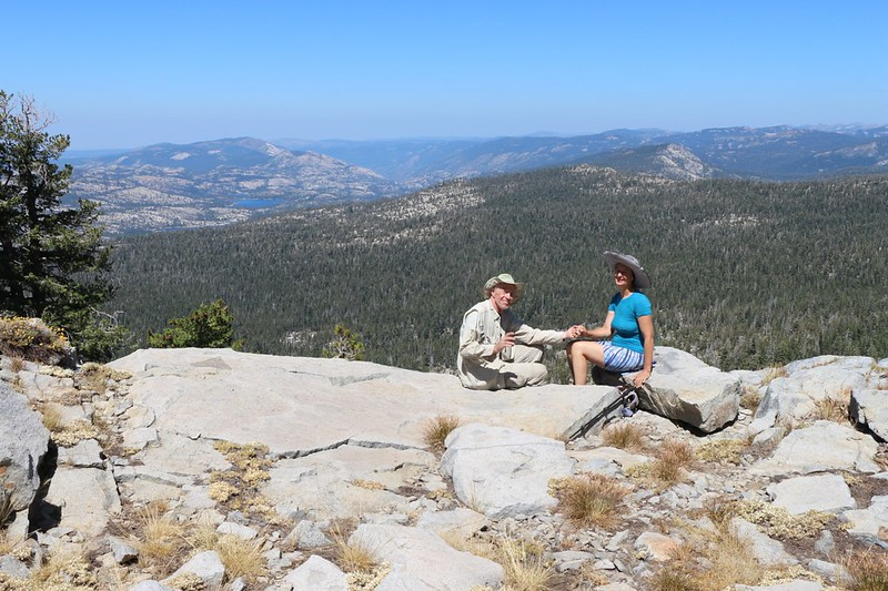 Posed shot on a ridge above the Tahoe-Yosemite Trail with a view north toward Rockbound Valley
