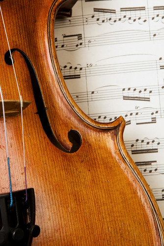 photo of violin resting on a music score