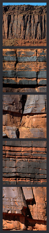 Collage of the red rock formations with 'desert varnish' just off of Hwy128 in Utah, USA