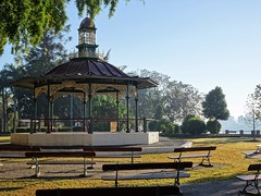 Maryborough. The beautiful band stand in Queens Park beside the Mary River.Erected 1890 after being exhibited at the Glasgow International Exhibition 1888. A memorial to Mayor Andrew Melville.