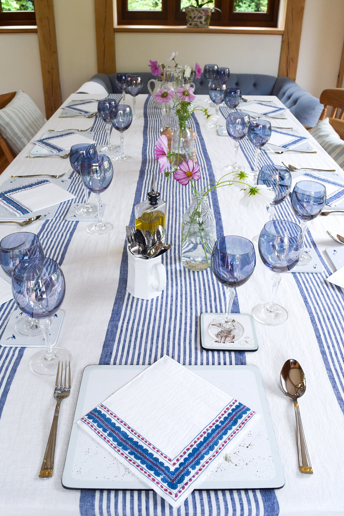 Blue Table for an Italian Lunch Party