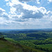 View south-east over lush Herefordshire towards the distant Black mountains of Wales from the Herefordshire Beacon. The Malverns, Worcestershire