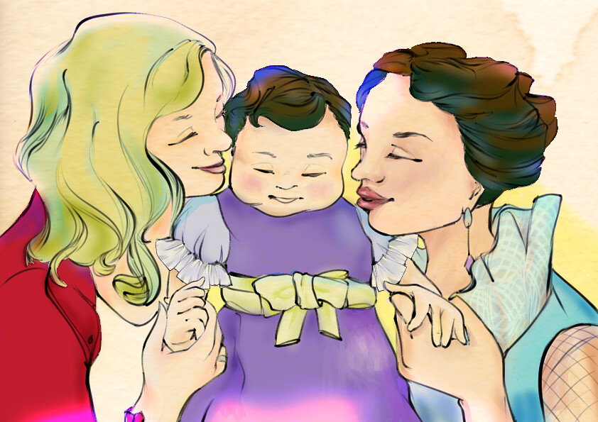 Emma, Regina, and Hope all share a family hug in their final coronation outfits