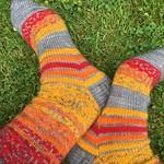 Swirls and stripes socks by Kat Knight