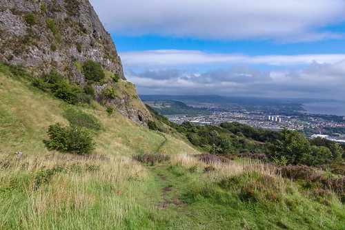 belfast hills cavehill cliff grass path clouds blue sky mountain northern ireland