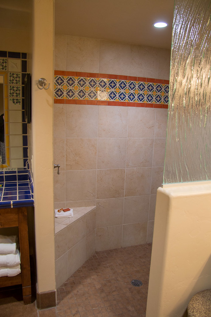 Shower in bathroom at Hacienda del Sol