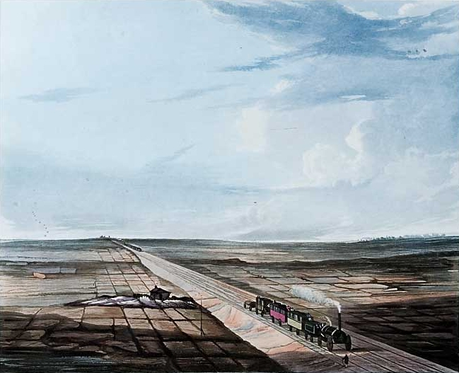View of the Liverpool &Manchester Railway across Chat Moss. Drawn by Thomas Talbot Bury. Engraved by H. Pyall. Published by R. Ackermann and Company, February 1833