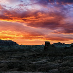 15. Aprill 2018 - 21:59 - A beautiful sunset as seen from Goblin Valley State Park, Utah looking over Wild Horse Butte