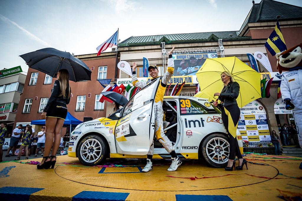 39 Sesks Martins, Francis Renars, LVA/LVA, ADAC Opel Rallye Junior Team, Opel Adam R2, podium ambiance during the 2018 European Rally Championship ERC Barum rally,  from August 24 to 26, at Zlin, Czech Republic - Photo Thomas Fenetre / DPPI