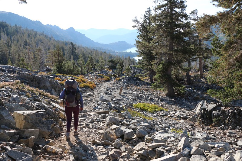 The Pacific Crest Trail is a rocky trail most of the way downhill to Echo Lake