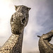 fine art colour - the majestic Kelpies, horse heads towering under a moody Scottish sky, Falkirk, Scotland, UK