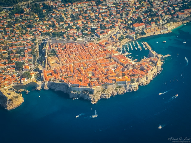 Flying passed Dubrovnik Old Town
