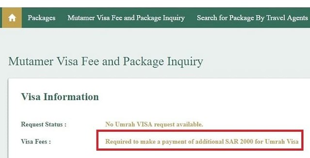 3238 Check Online if you need to pay SR 2,000 as Umrah Visa Fee 03