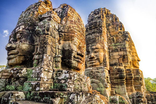 Sunset Light on Faces of Bayon Temple, Angkor, Cambodia-33a