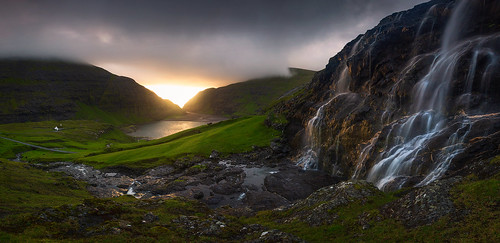 Waterfall pano at sunset