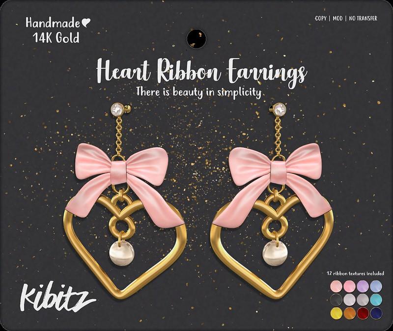 kibitz heart ribbon earrings