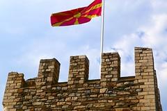 Macedonian flag flies over Skopje Fortress