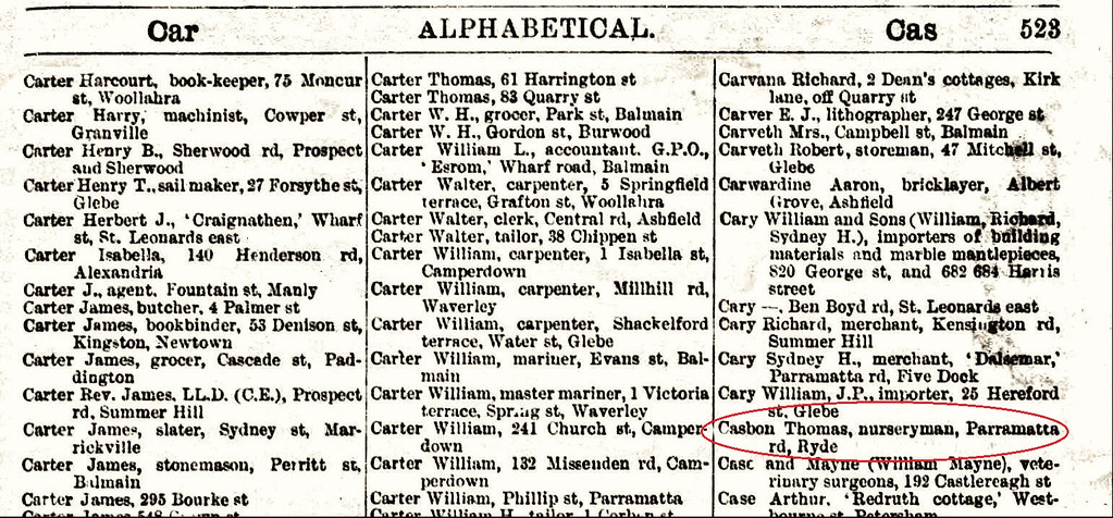 Thomas C b1840 1887 NSW directory