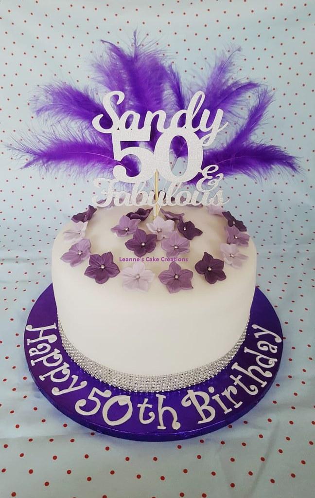 Purple Petunia 50th Birthday Cake