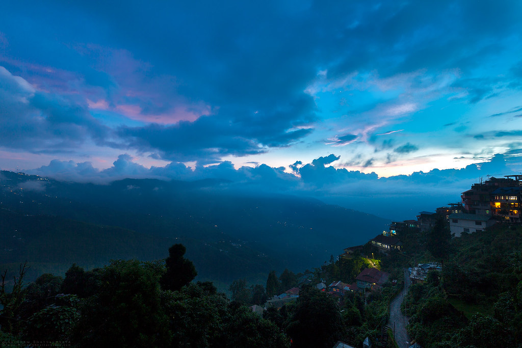 cloudy sunsets in Darjeeling Himalaya during monsoon