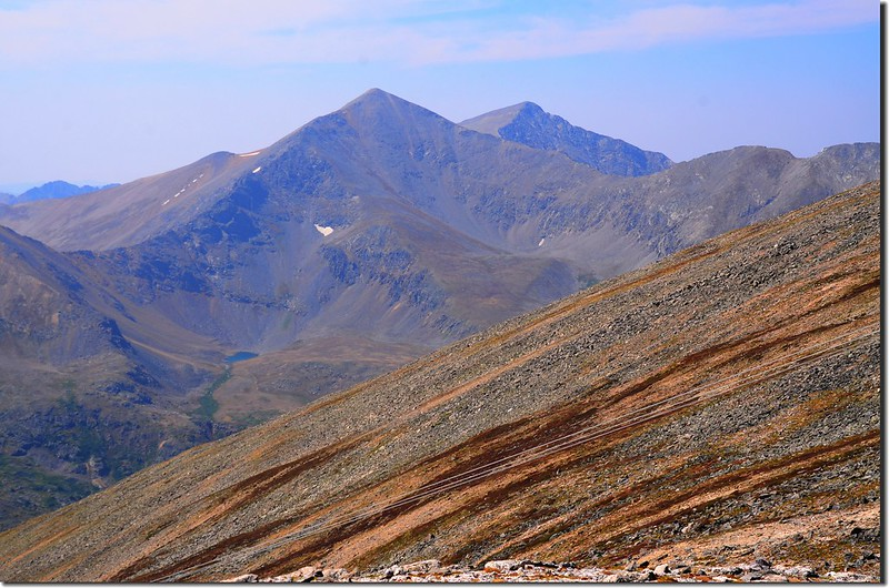 View of Grays、Torreys Peaks from the south ridge of Argentine Peak