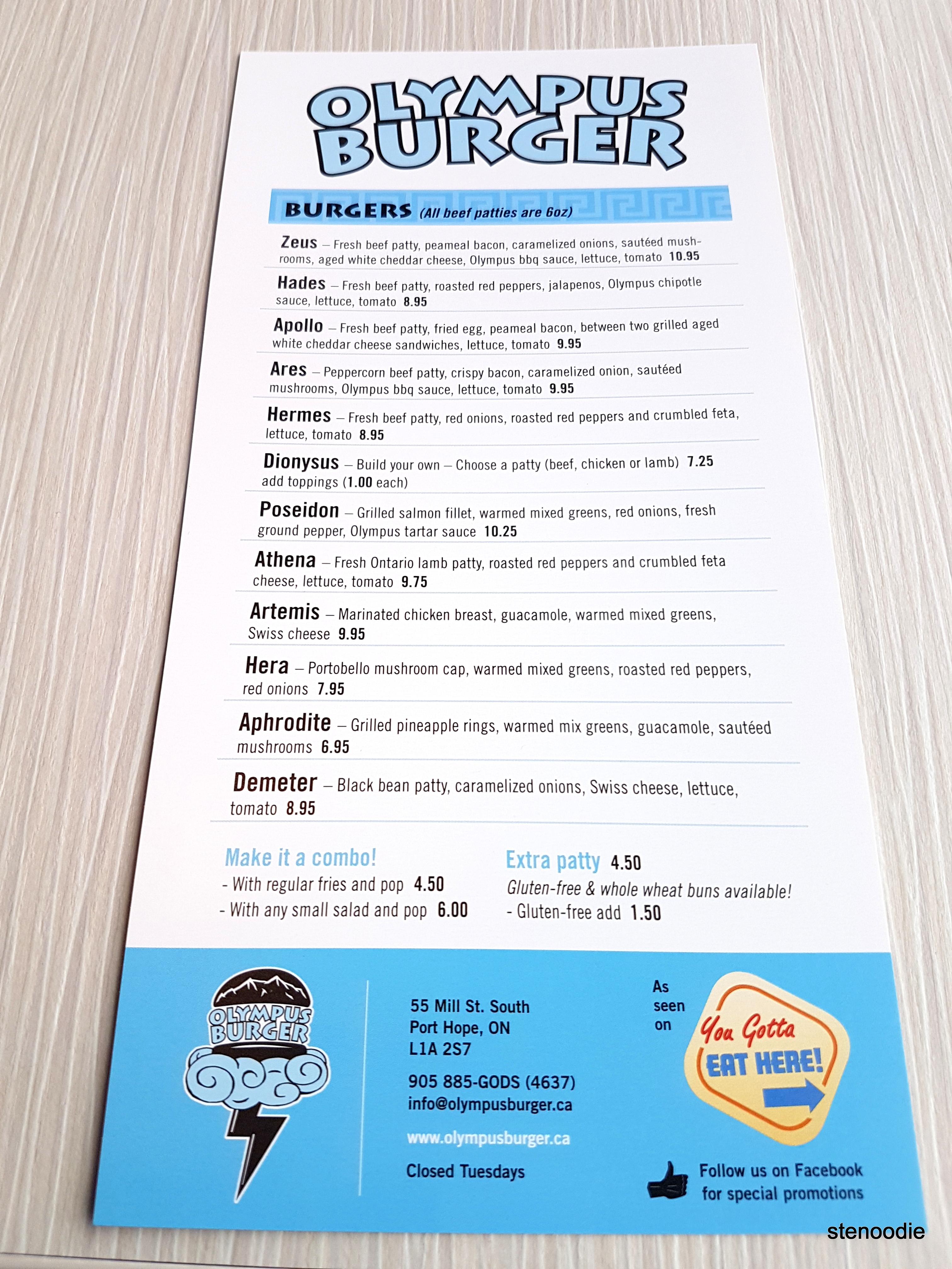 Olympus Burger menu and prices