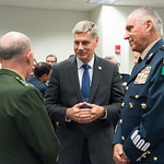 Thu, 09/20/2018 - 13:33 - On Thursday, September 20, 2018, the William J. Perry Center for Hemispheric Defense Studies honored General Salvador Cienfuegos Zepeda, Secretary of National Defense of Mexico, and Escola Superior de Guerra (ESG), National War College of Brazil, with the 2018 William J. Perry Award for Excellence in Security and Defense Education. Named after the Center's founder, former U.S. Secretary of Defense Dr. William J. Perry, the Perry Award is presented annually to individuals who and institutions that have made significant contributions in the fields of security and defense education. From the many nominations received, awardees are selected for achievements in promoting education, research, and knowledge-sharing in defense and security issues in the Western Hemisphere. Awardees' contributions to their respective fields further democratic security and defense in the Americas and, in so doing, embody the highest ideals of the Center and the values embodied by the Perry Award.