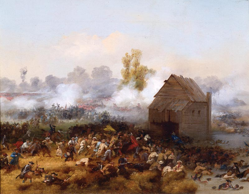 Gunpowder smoke from cannons and muskets mark where Stirling and the Maryland troops attack the British, while the rest of the American troops in the foreground escape across Brouwer's mill pond. The building pictured is the mill. (Battle of Long Island, 1858 Alonzo Chappel)
