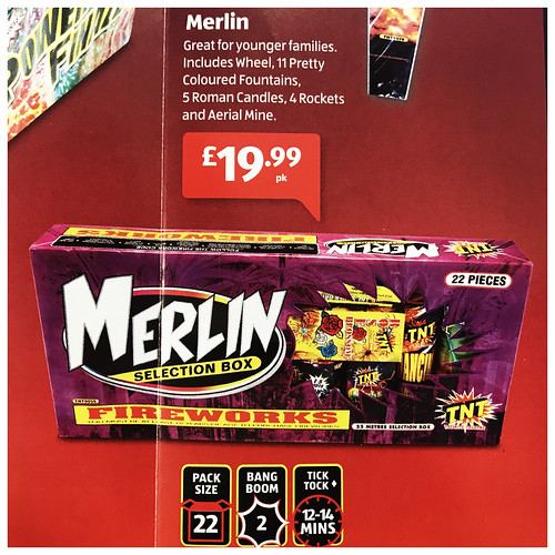 £19.99 ALDI PRICE - MERLIN FIREWORK SELECTION BOX