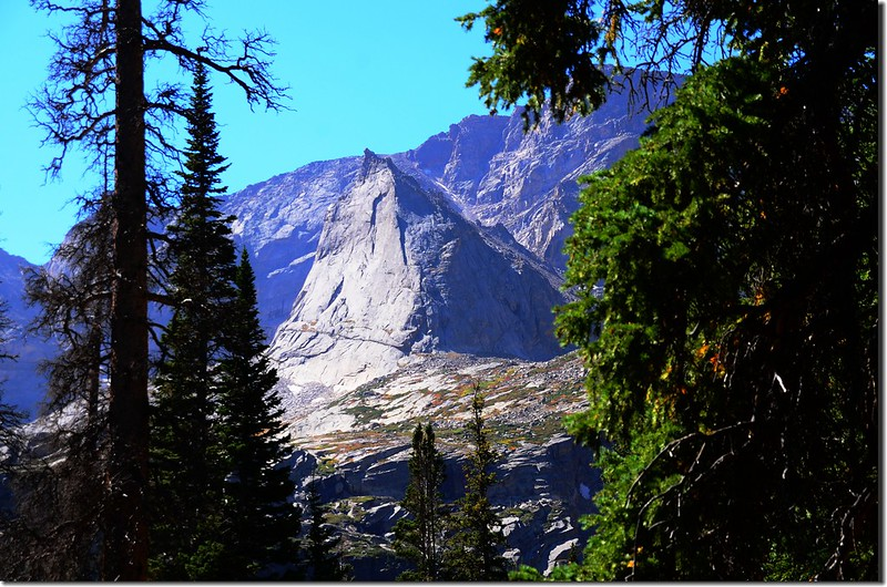 Looking south at The Spearhead from the trail up to Shelf Lake