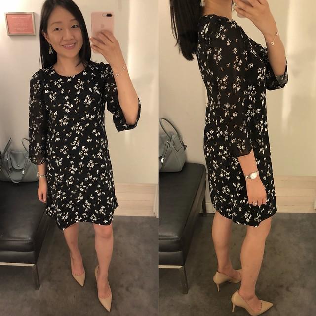 Ann Taylor Floral Chiffon Sleeve Shift Dress, size 00P
