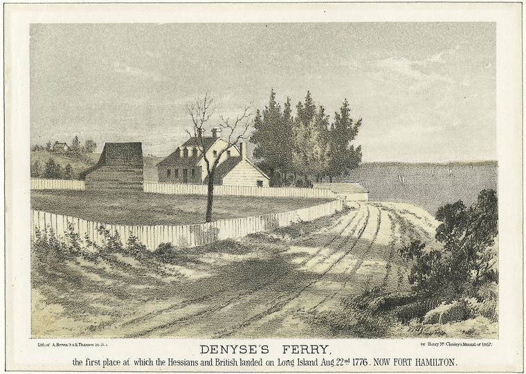 Denyse's Ferry, the first place at which the Hessians and British landed on Long Island August 22, 1776 by A. Brown. This high point overlooking the Narrows was an American artillery position and was bombarded by the British before the invasion, but the actual landing took place farther east at Gravesend Bay (around to the left from the perspective of this illustration) where the conditions were more favorable for the small British boats carrying the troops.