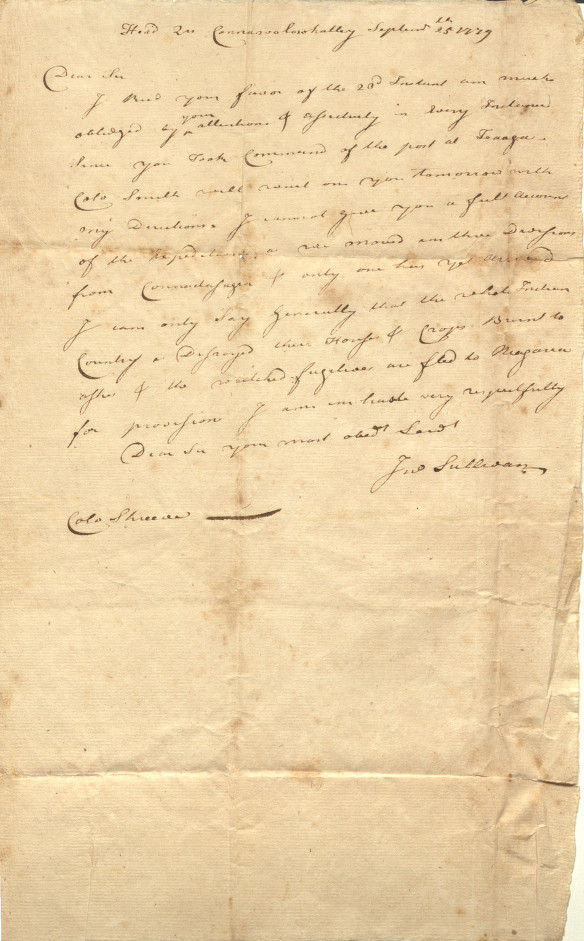 Correspondence from Major General John Sullivan to Shreve on September 25, 1779. Sent from Headquarters in Connawolowhalley.
