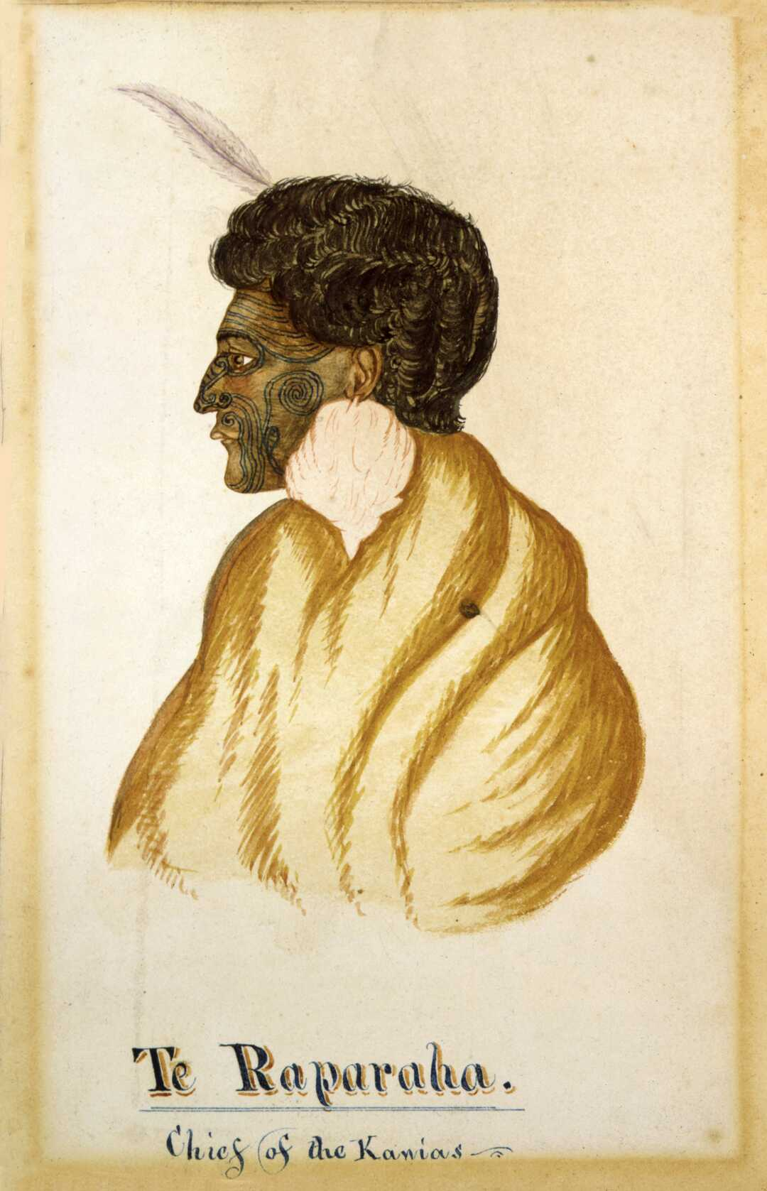 A profile head and shoulders portrait of the Ngāti Toa chief Te Rauparaha, wearing a cloak, a pohoi ear ornament (made from albatross feathers), and a feather in his hair. He has full moko (facial tattoo), circa 1840s. From the collection of the Alexander Turnbull Library in custody of the National Library, Wellington, New Zealand.
