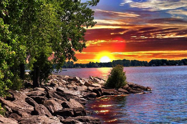 Toronto Ontario - Canada - Sunrise Over The Lake  Ontario HDR