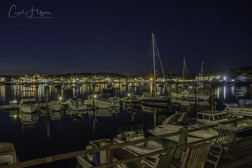 yellow boothbayharbor boats harbor me maine brownswharfinn nightphotography night water reflections