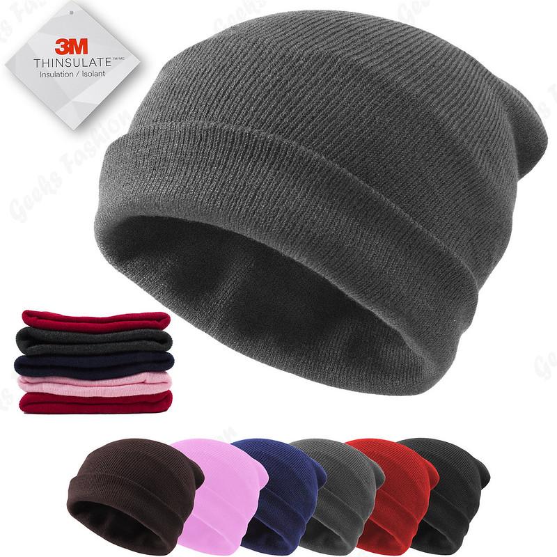 7a46435499 Cuff Beanie Knit Hat Winter Warm Cap Slouchy Skull Ski Hats Men Women Warm  Plain